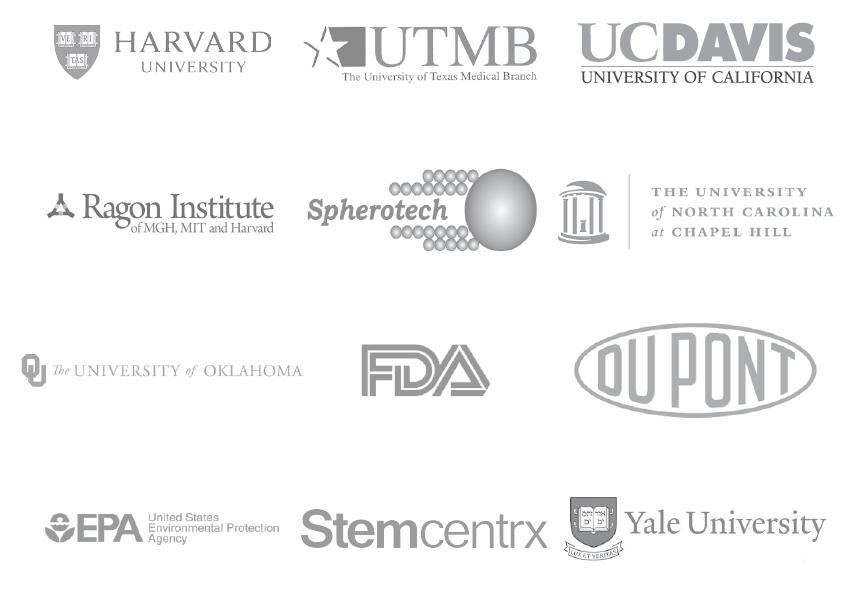 Stratedigm customers include Harvard, UTMB, UC Davis, Ragon Institute, Spherotech, UNC, University of Oklahoma, FDA, Dupont, EPA, Stemcentrx, and Yale