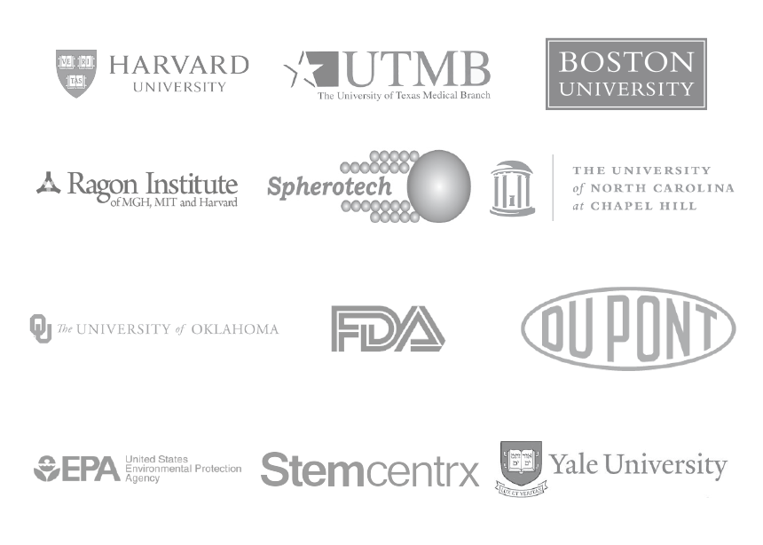 Stratedigm customers include Harvard, UTMB, Boston University, Ragon Institute, Spherotech, UNC, University of Oklahoma, FDA, Dupont, EPA, Stemcentrx, and Yale