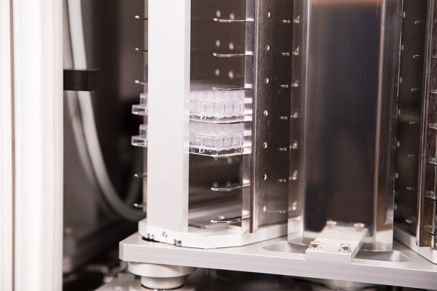 Inside Close Up With Plates of Stratedigm A800 Cell Incubator (CI) for Flow Cytometry