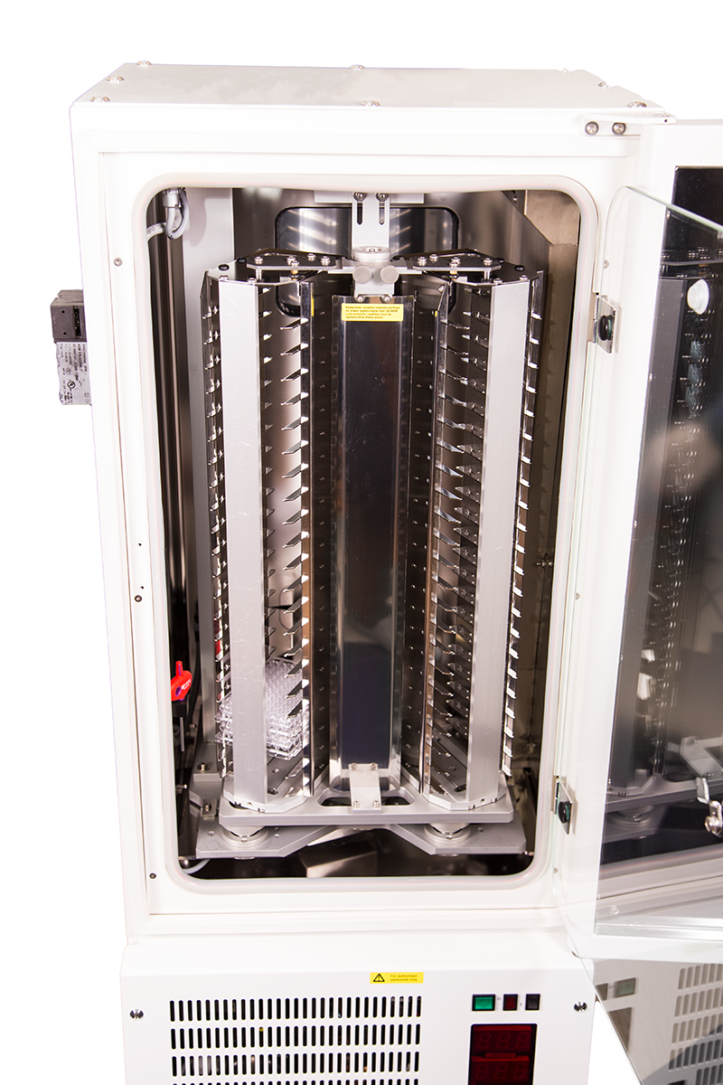 Front Close Up Door Open View of Stratedigm A800 Cell Incubator (CI) for Flow Cytometry